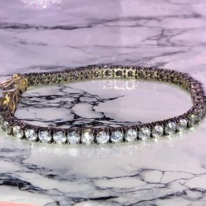 Antique Jewelry - Antique Art Deco 925 Silver CZ Tennis Bracelet